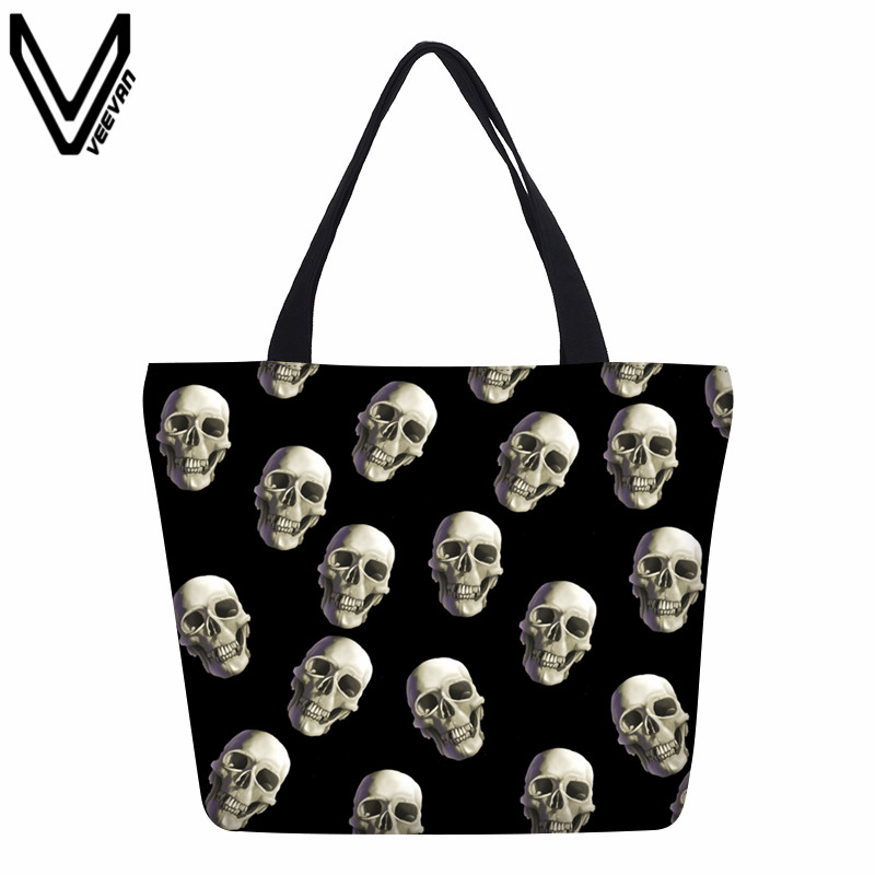 VEEVANV Hot Sale Eco-friendly Canvas Shopping Bags Foldable Travel Handbag Portable Grocery Bags Supermarket Halloween Skull Bag