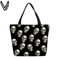 VEEVANV Hot Sale Eco Friendly Canvas Shopping Bags Foldable Travel Handbag Portable Grocery Bags Supermarket Halloween