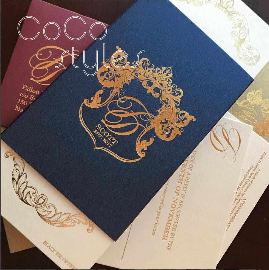 Wedding Invitations High End: Cocostyles Custom High End Navy Blue Invitation Card With