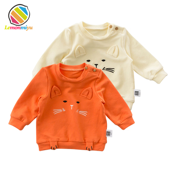 Lemonmiyu Baby Cotton Spring Tees Cartoon Full Sleeve Toddler Fashion Tops Infants O-Neck Animal T-Shirts Cute Cat Kids Clothes