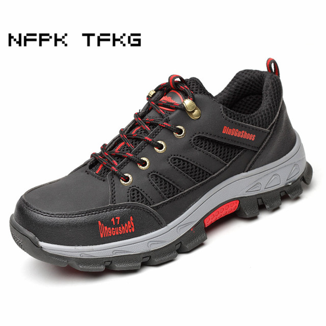 plus size men breathable steel toe cap work safety shoes puncture proof  non-slip site tooling security boots protective footwear 8e357029a29b