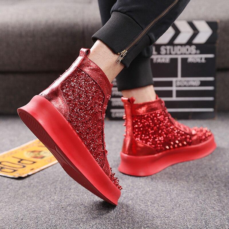Zapatillas altas para hombre con remaches de plata con cordones para jóvenes Punk Hip Hop-in Zapatos informales de hombre from zapatos    3