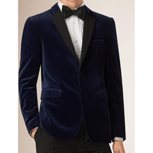 HB057 Navy Blue Velvet Fashion Wedding The Groom's Best Man Suits Formal Occasions Tuxedos Custom Made Size Jacket with Pants