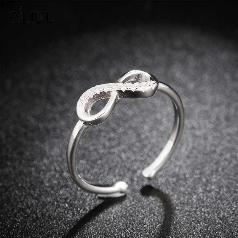 Smjel 100% 925 Sterling Silver Tak Terbatas Cincin Kristal Pernikahan Pasangan Disesuaikan Cincin Indah Perak Perhiasan Wanita Ibu Hadiah