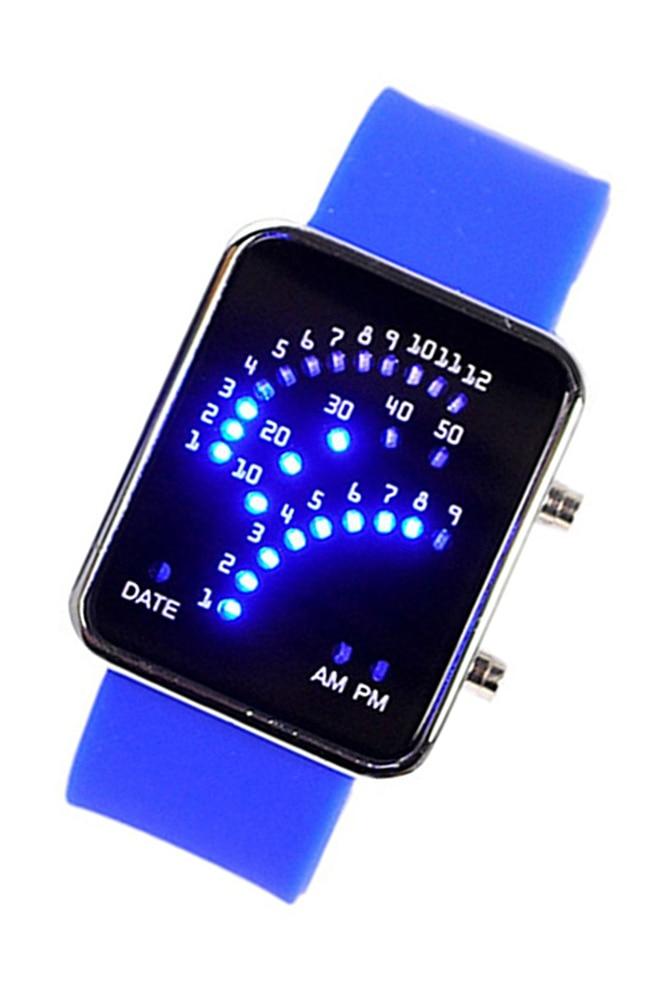 Unisex men's digital day silicon band wristband watch, female fan shape 29 blue LED display, yellow freestyle unisex 10019170 tide trainer digital display japanese quartz brown watch