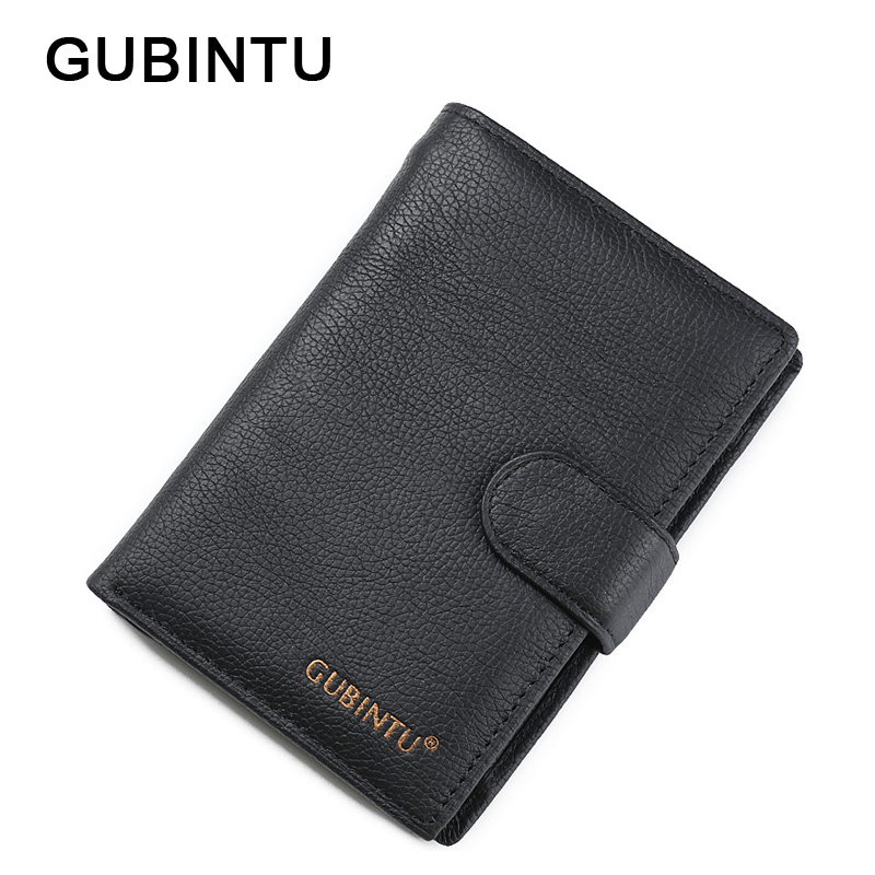 GUBINTU Brand Wallet Genuine Leather Men Wallets Black Short Purses Multi-Card Bit Casual Male Money Bag Soft Men Card Pack