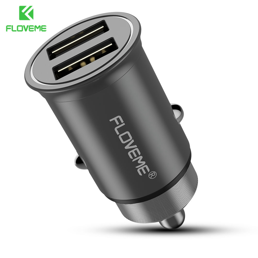 FLOVEME Aluminum Dual USB Car Charger 5V