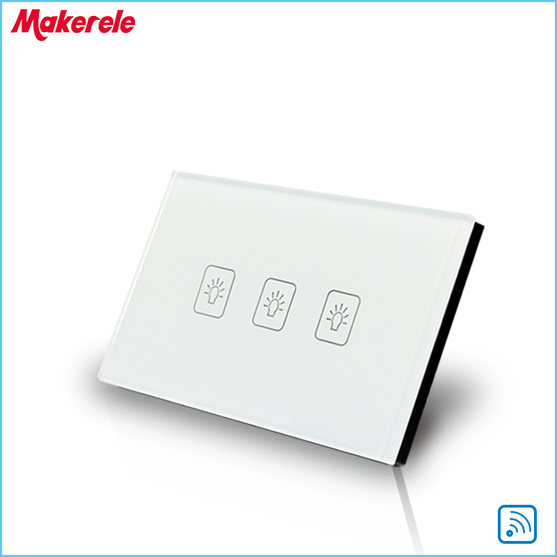 Remote Touch Switch US Standard 3 Gang1 way Remote Control Light Switch ewelink eu uk standard 1 gang 1 way touch switch rf433 wall switch wireless remote control light switch for smart home backlight
