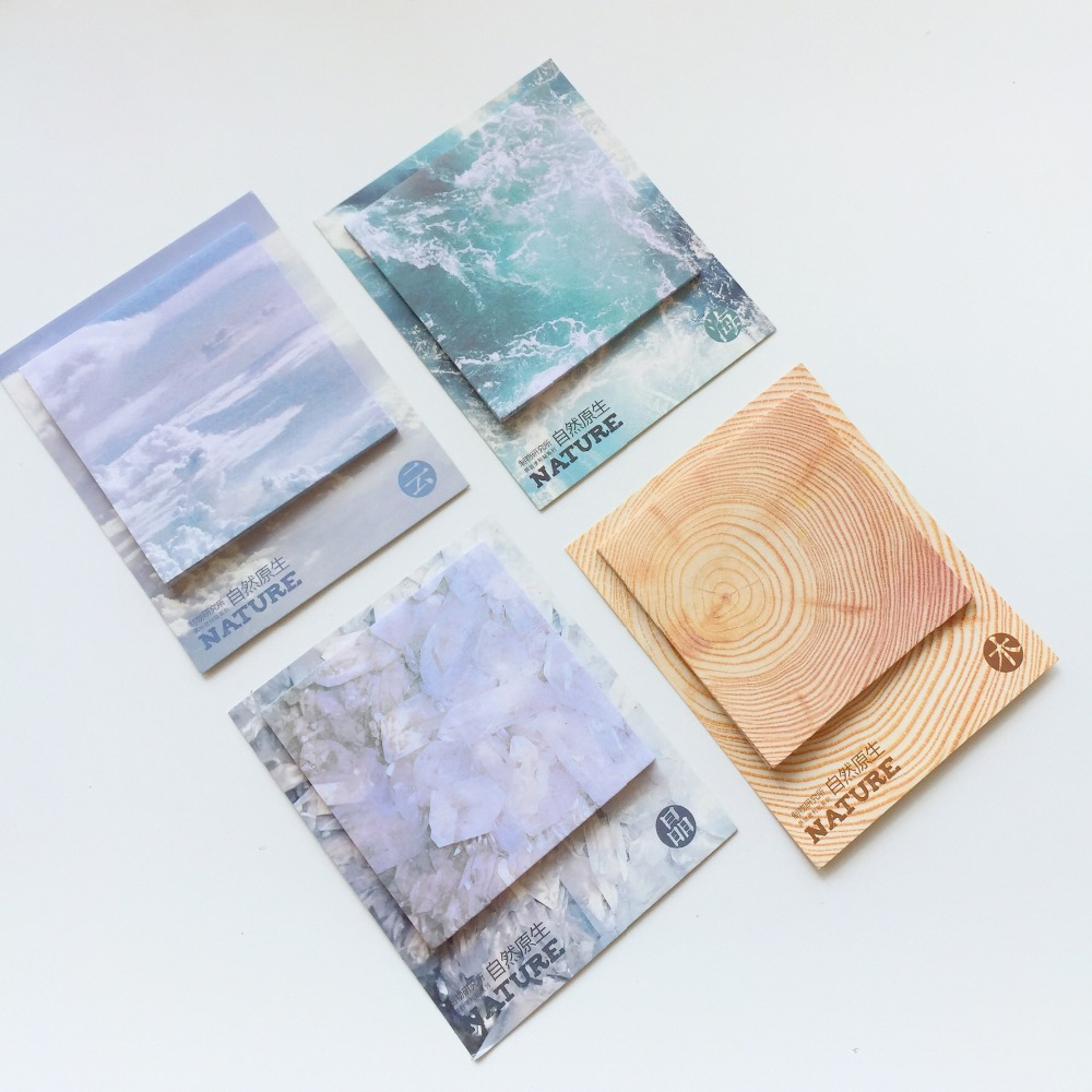 30 Pages Nature Wood Cloud Ice Memo Pads Plan Message Writing Sticky Notes Marker Stick Label School Office Supply