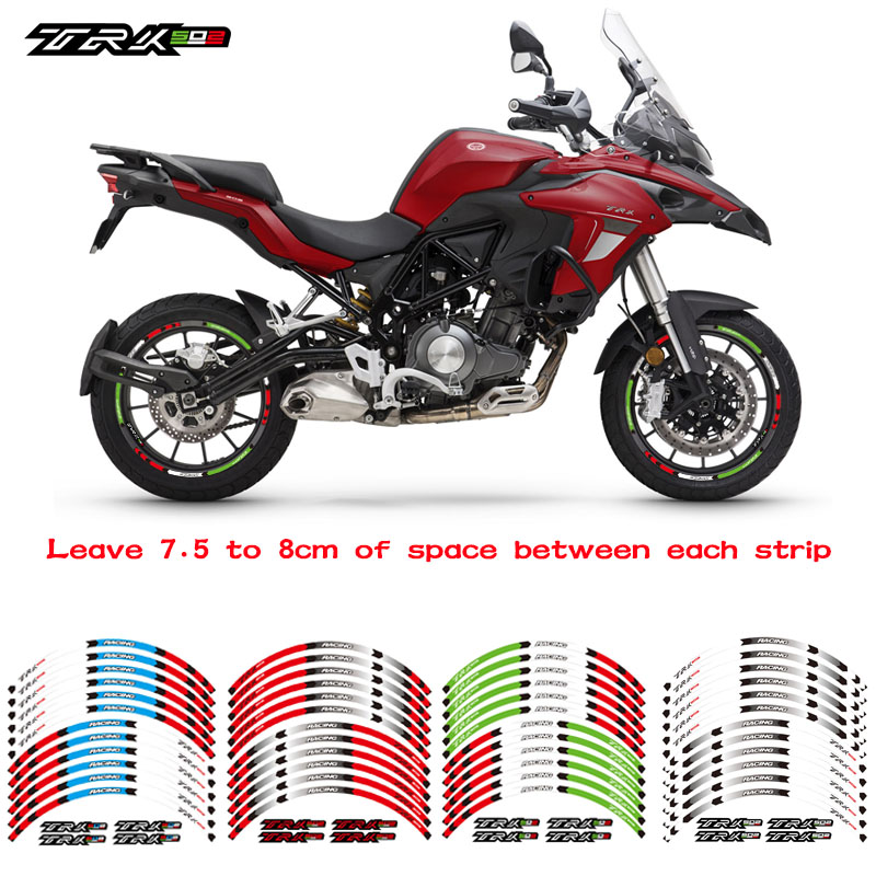 New Motorcycle front&Rear Edge Outer Rim <font><b>Sticker</b></font> Wheel Decals Reflective waterproof <font><b>stickers</b></font> For <font><b>Benelli</b></font> <font><b>TRK</b></font> 502 image