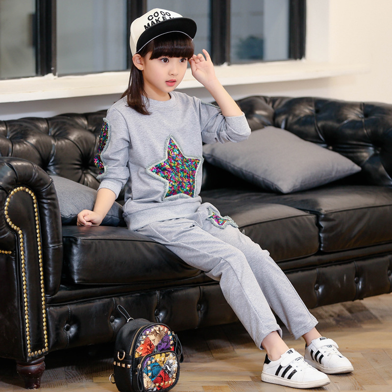 Children's Garment 2017 Spring Clothes New Pattern Girl Korean Five-pointed Star Child Suit Two Pieces Girl Suit Kids Clothing summer child suit new pattern girl korean salopettes twinset child fashion suit 2 pieces kids clothing sets suits