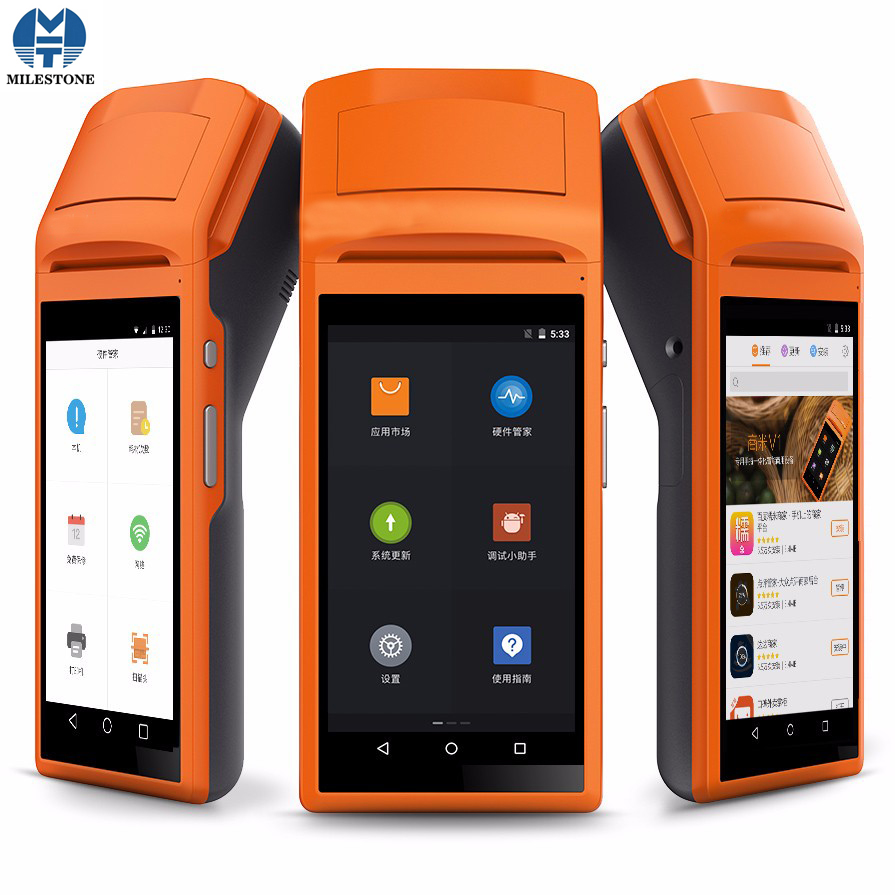 Handheld Terminal POS Impressora Térmica Impressora Bluetooth Pos Systerm 58mm Térmica Comercial MHT-V1 Android 5.1 3G Móvel