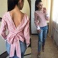 Cute Women Blouse 2017 Fashion White Striped Open Back Sexy tops Long Sleeve Shirt Women Summer Clothes Free shipping plus size