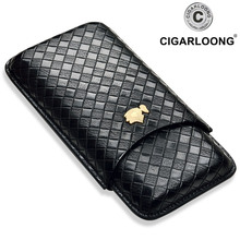 COHIBA Gadgets Leather Travel Cigar Case 2-3 Tubes Cigars Holder Mini Humidor with Gift Box  travel Cigar case XJH022