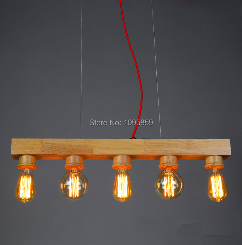 ФОТО Modern Nordic Style 5 Heads Wood Color Wooden Line Pendant Light Lamp Bedroom Ceiling Fixtures Lighting