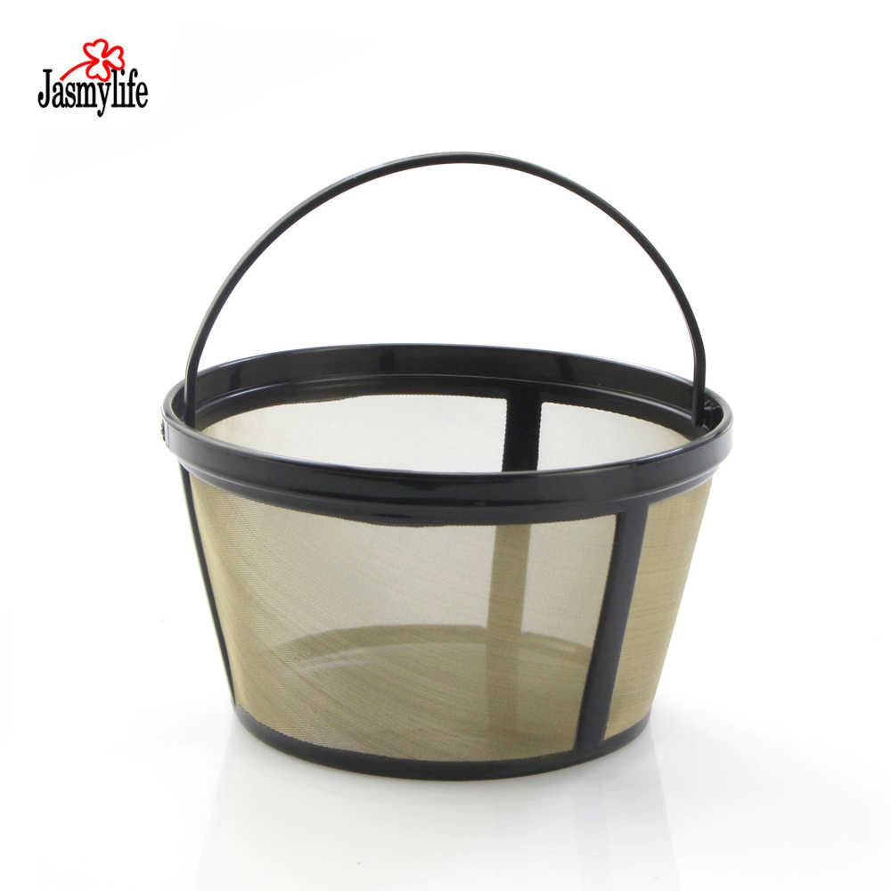 12-16 Xícara De café de Estilo Cesta de Café Gold Tone metal Filtro coador de aço Inoxidável Permanente Para a Xícara de Café Cafeteira