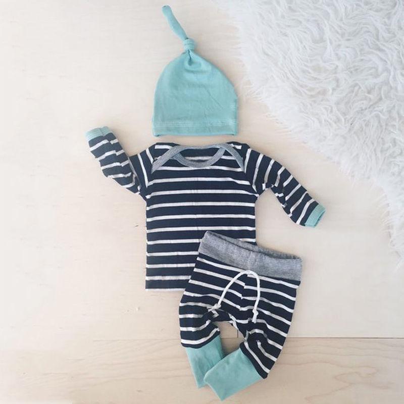 2016 printemps et automne bébé garçons vêtements décontracté 3 pièces (chapeau + T-shirt, pantalon) les loisirs rayés bébé garçons vêtements ensembles