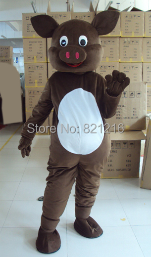Brown Pig mascot costume free shipping