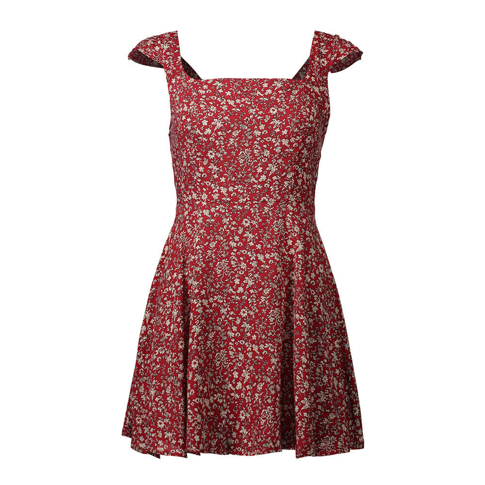 Ruffle cold shoulder polkadot print summer dress Vintage short dress Women chic Ladies dress