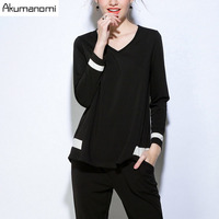 Two Piece Set Loose Full Sleeve V Neck Blouse Tops And Elastic Waist Trousers Spring Autumn