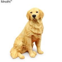 Mnotht 1/6 Golden Retriever Sitting Dog Simulation Animal Model Ornaments Leksaker Resin Accessory for Action Figur Collection md