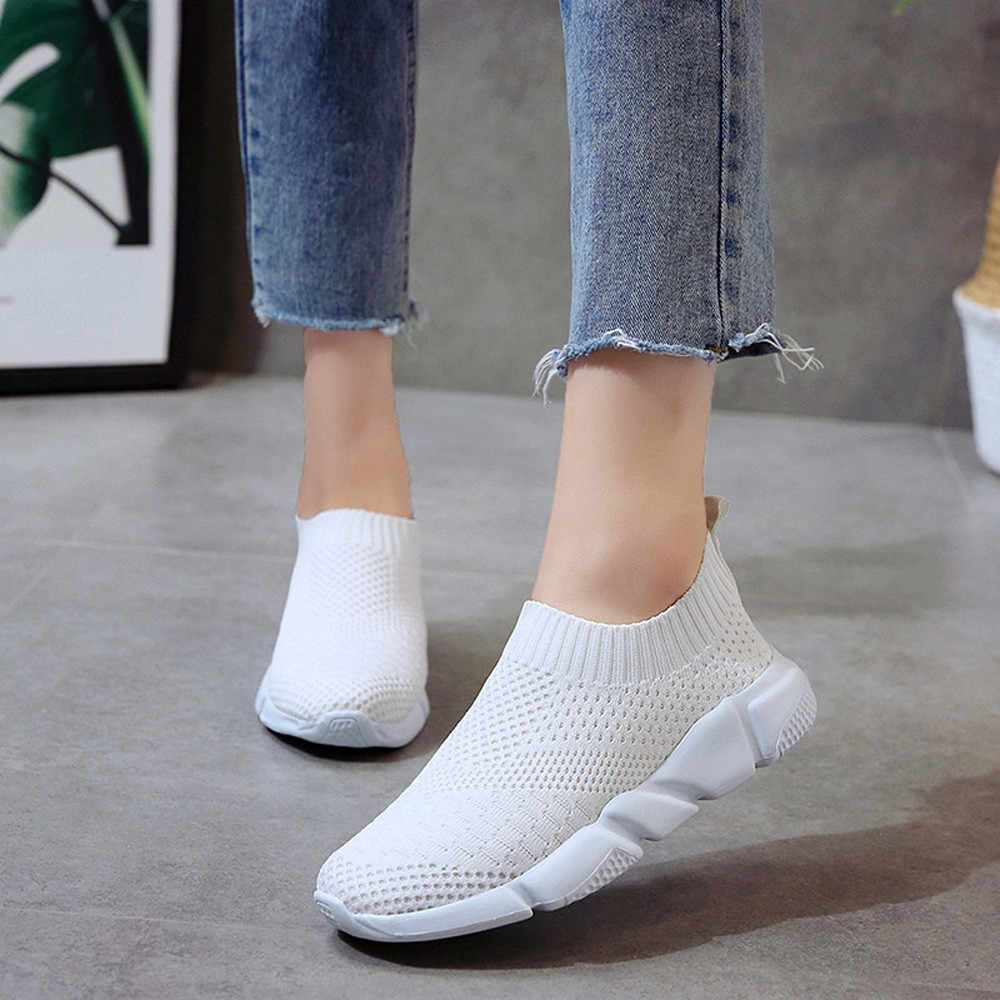 2019 Women shoes ladies Outdoor Mesh Shoes Casual Slip On Comfortable Soles Running Sports Shoes обувь женская кросовки#PY25