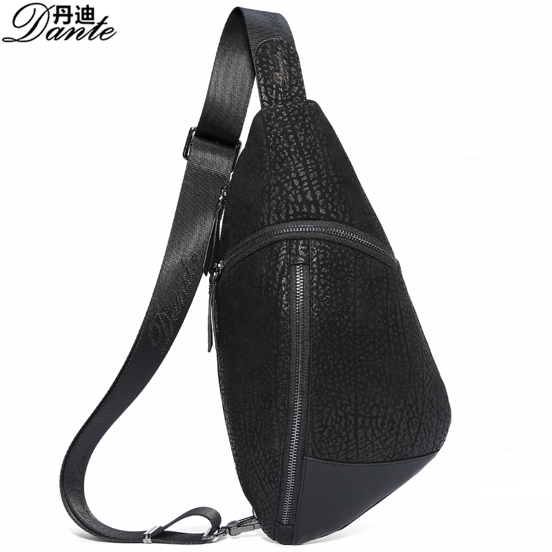 Dante Genuine Leather Bag Men Chest Pack Single Shoulder Strap Back Bags Leather Travel Men Crossbody Bags Vintage Chest Bag