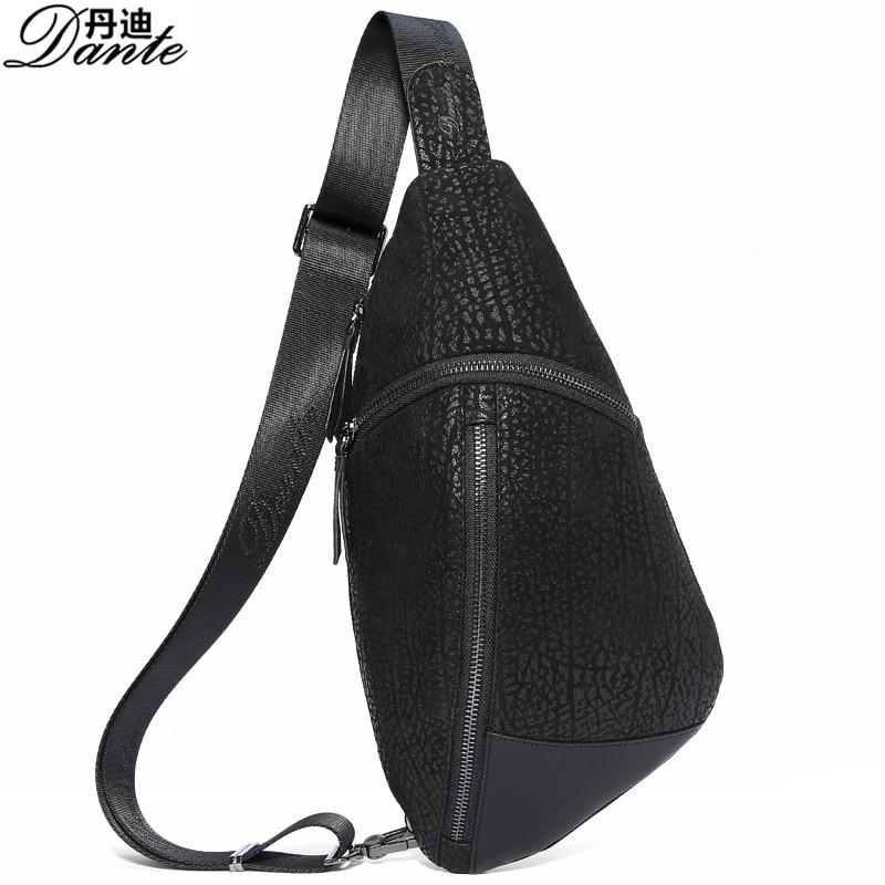 Dante Genuine Leather Bag Men Chest Pack Single Shoulder Strap Back Bags Leather Travel Men Crossbody Bags Vintage Chest Bag