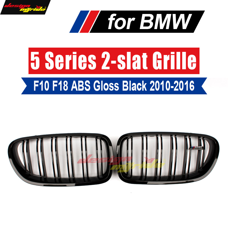A Pair 5 Series F10 Glossy Black Dual Slat M5 Style Front Kidney Grille Grill For BMW F10 520i 523i 525i 530i 535i 2010-2016 e60 abs front kidney grille grill for bmw 5 series e60 2004 2009 sedan e61 hatchback 1 slat 2 slat 535i 545i