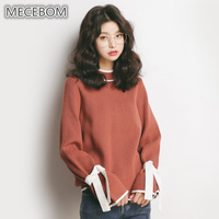 MECEBOM New Autumn Candy Color Lady Sweaters Fashion Solid Long Sleeves Lace Up Design Women Sweaters