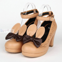 LOLITA PU leather bunny ear Handmade Cute rabbit Bow Princess Sweet Lolita girl Cosplay Shoes
