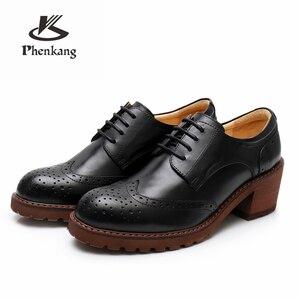 Image 5 - Yinzo النساء أكسفورد مضخات أحذية vintage جلد طبيعي سيدة مضخات أكسفورد الكعوب أحذية للنساء الأسود براون أحذية 2020 الربيع