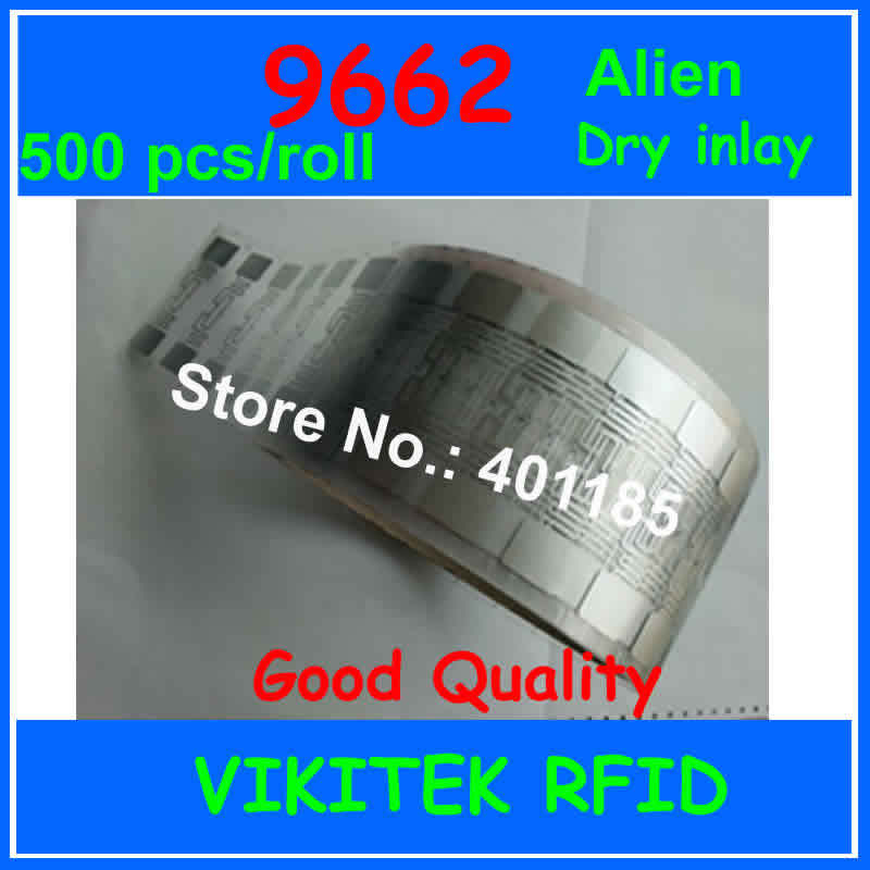 UHF RFID tag Alien 9662 dry inlay 500pcs per roll 860-960MHZ Higgs3 915M EPC C1G2 ISO18000-6C can be used to RFID tag and label 500pcs rfid one off coated paper wristbands tag epc gen2 support alien h3 chip used for personnal management