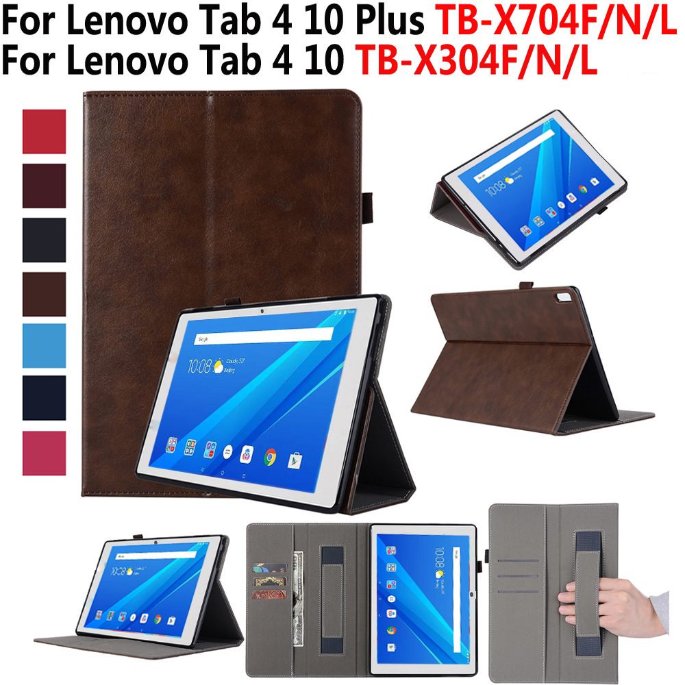 Leather Case For Lenovo TAB4 Tab 4 10 TB-X304L TB-X304F TB-X304N Smart Cover For Lenovo Tab 4 10 Plus TB-X704L TB-X704F TB-X704N цена и фото