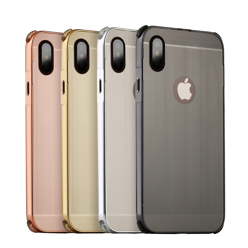 For Apple iphone X Case Brushed Back Cover Hard with Plating Metal Frame for phone bags cover