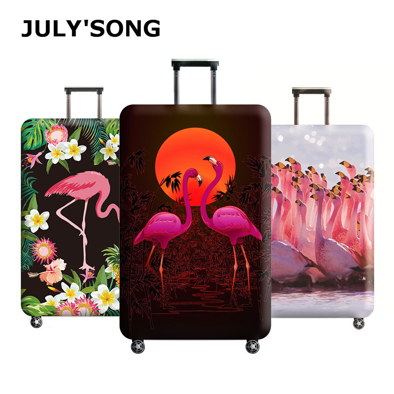 JULY'S SONG Flamingo Luggage Protective Cover For 18-32 Inch Trolley Suitcase Elastic Protect Dust Bag Case Travel Accessories