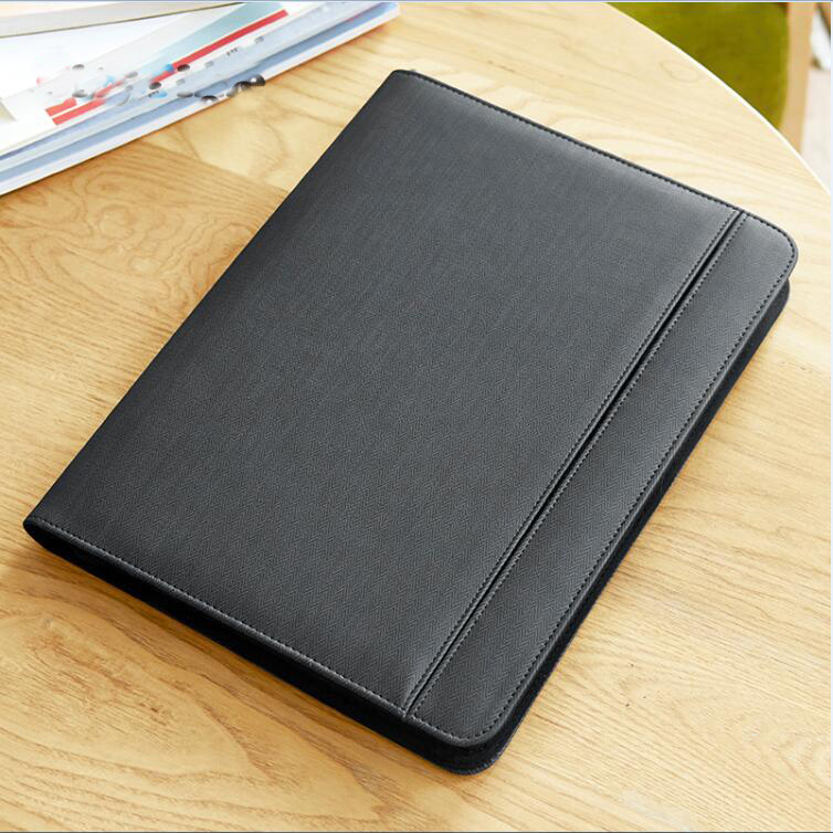 Creative Business Leather File Zipper Folder A4 Bags For Documents Padfolio With Ipad Mobile Stand Rigid Belt Tape For USB 1105D