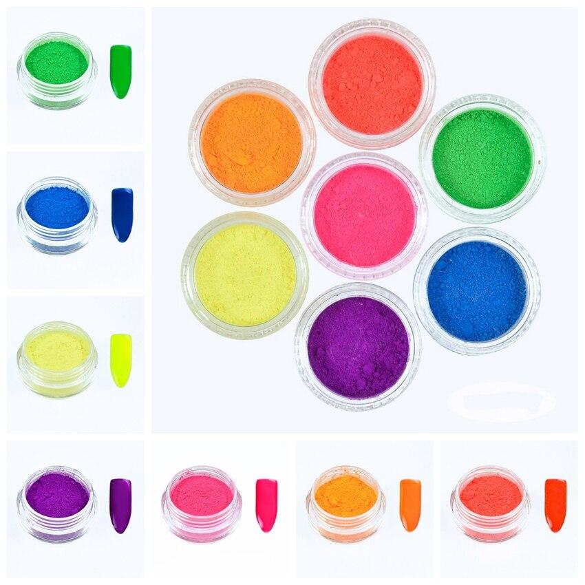 7 Boxen Neon Pigment Pulver 3 Gr/schachtel Ombre Neon Pigmente Gradienten Nagel Neon Pulver Gradienten Pigmente Staub Für Uv Gel 7 Gläser/set Schönheit & Gesundheit Nagelglitzer