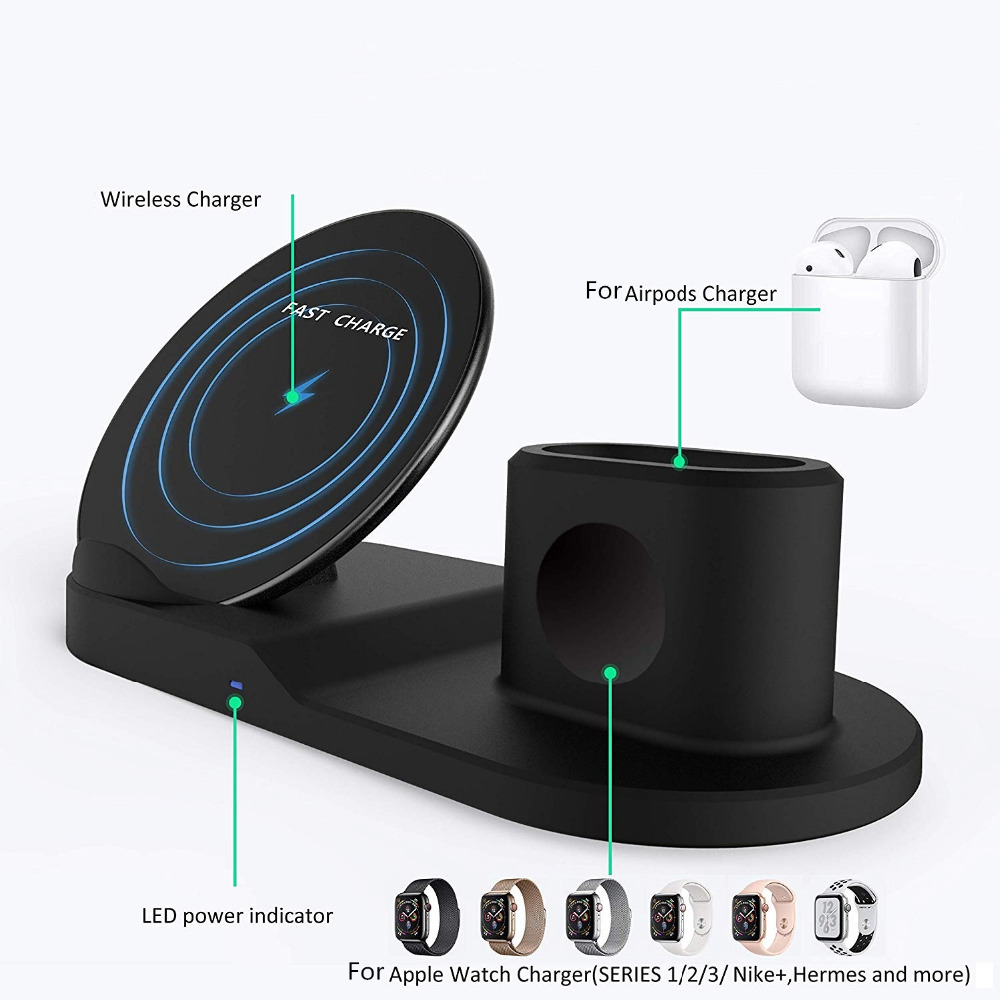 Wireless Charger Stand for iPhone AirPods Apple Watch, Charge Dock Station Charger for Apple Watch Series 4/3/2/1 iPhone X 8 XS 6