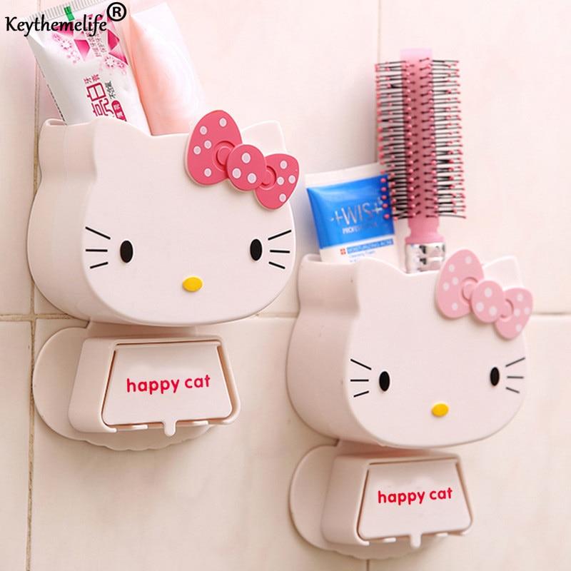 1 PC Cartoon Toothbrush Holder Happy Cat Storage Box Bathroom Accessories Paste Container For Bathroom