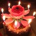 2 pcs venda Quente Bonito Música velas decorativas para festa Incrível lotus flower vela do aniversário para bolo, Frete grátis.