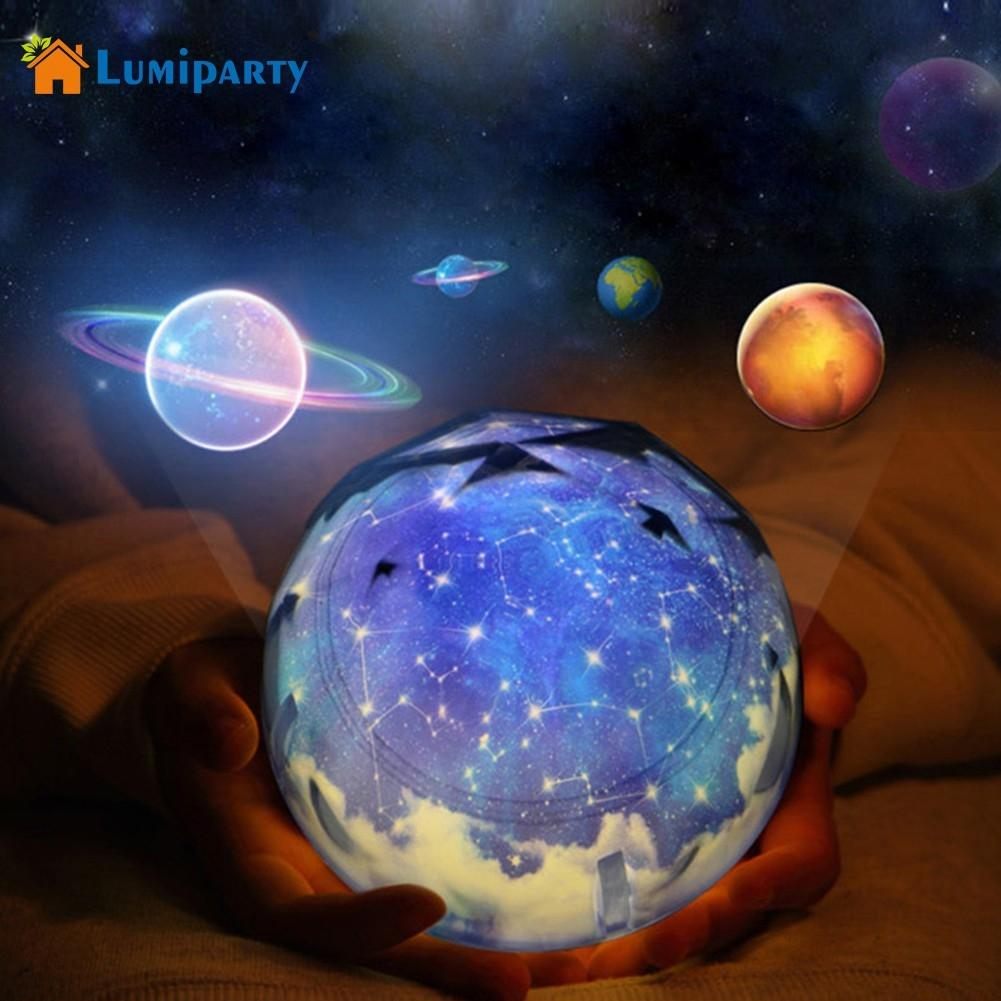 LumiParty Sky Earth Rotate Projector LED Night Light USB AA Battery Powered LED Night Lamp Novelty Baby Light for Christmas Gift