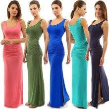 Summer Elegant Women Sexy Dress High Stretch Tank Robe Vestidos O-neck Sleeveless Slim Maxi Dress Hem Split Long Dress Tunic