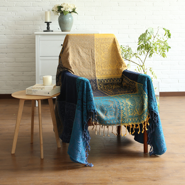 Bohemian Chenille Blanket Sofa Decorative Slipcover Throws On Bed Plane Travel Plaids Rectangular