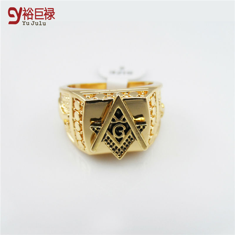 2016 Men 24k Gold Metal Hip Hop Ring Golden Medusa Masonic Rings Punk Rock Jewelry Anillos