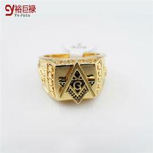 2016 Men 24k Gold Metal Hip Hop Ring Golden Medusa Masonic Rings Punk Rock Jewelry Anillos Bar Club One Ring For Wedding Gift
