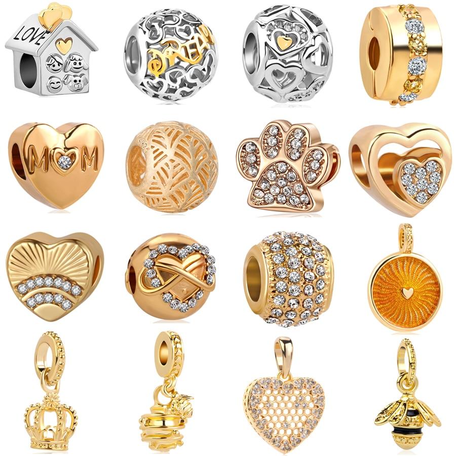 free shipping 2018 new mickey dream love family mom house honey bee european bead Fits Pandora Charm Bracelet&necklace mix068