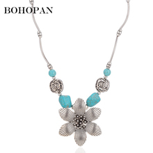 Charm Necklace Antique Silver Green Gem Geometric Carving Alloy Necklace For Women Tassel Flower Pendant Necklace Jewelry Bijoux stylish faux turquoise carving leaf tassel necklace for women
