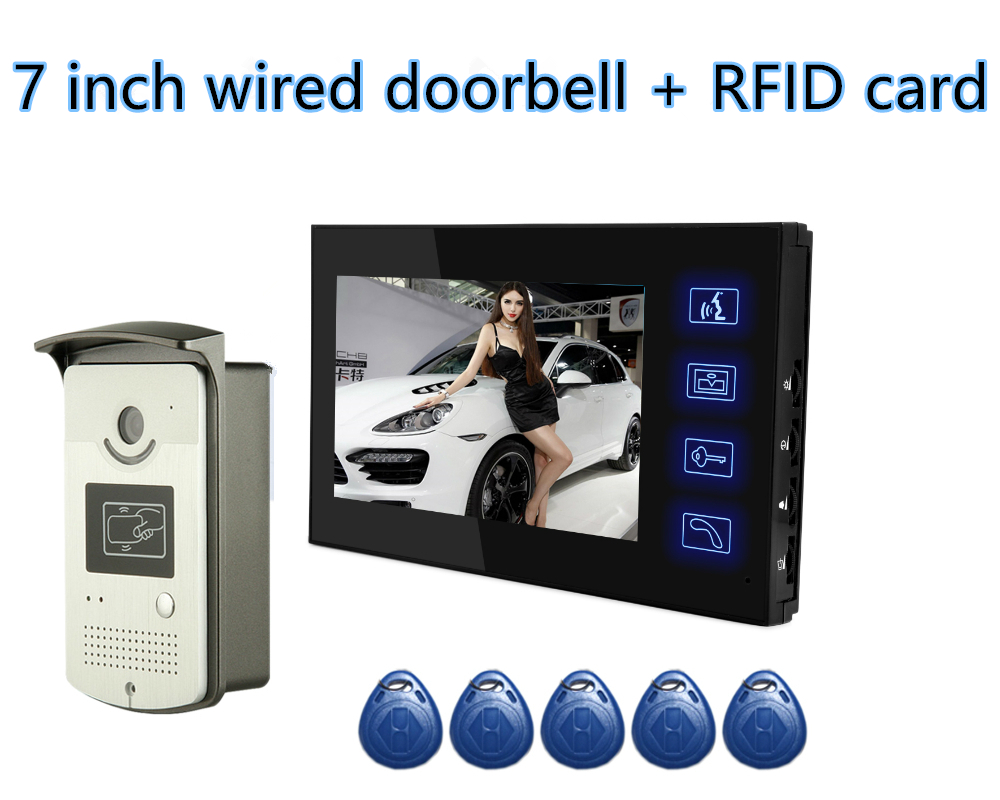 YobangSecurity Home Security RFID Card 7Inch Monitor Video Doorbell Door Phone Intercom Night Vision Camera Monitor System yobangsecurity home security 7inch monitor video doorbell door phone video intercom night vision 1 camera 1 monitor system