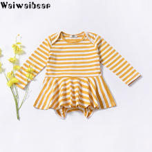 Waiwaibear Hot Sale Baby Infant Girls Rompers Striped Long-Sleeved Toddler Cotton Clothing TN8